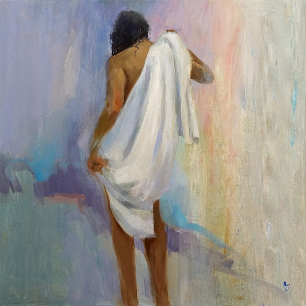 "Andrew Judd ""After the bath"" Öl auf Leinwand 60 x 60 cm"