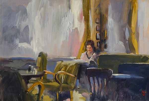 "Andrew Judd ""Café Jelinek - In the morning"" Öl auf Karton 20 x 30 cm"