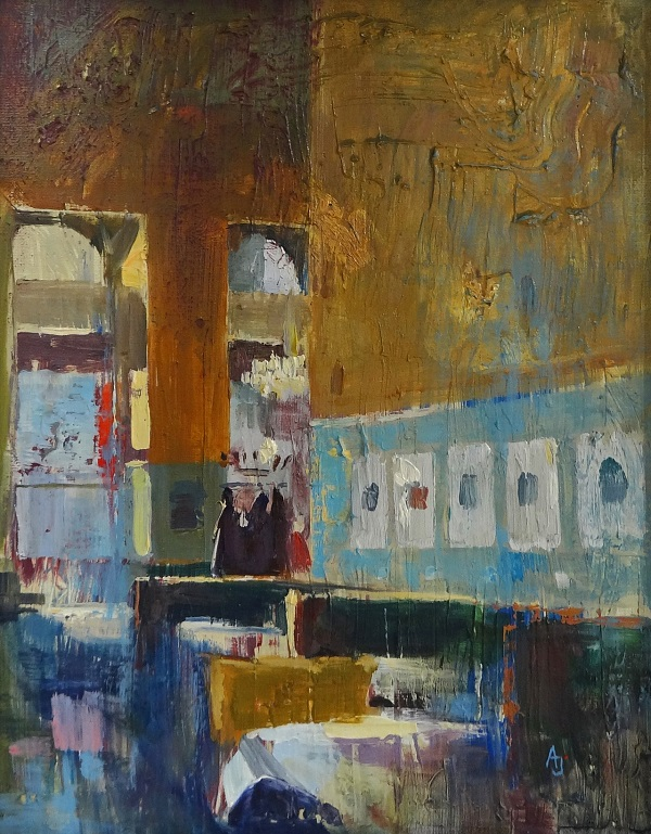 "Andrew Judd ""Cafe Westend - Turning Light"" Öl auf Karton 24 x 30 cm"