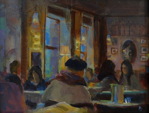 "Andrew Judd ""Evening Light - Cafe Korb"" Öl auf Karton 24 x 30 cm"