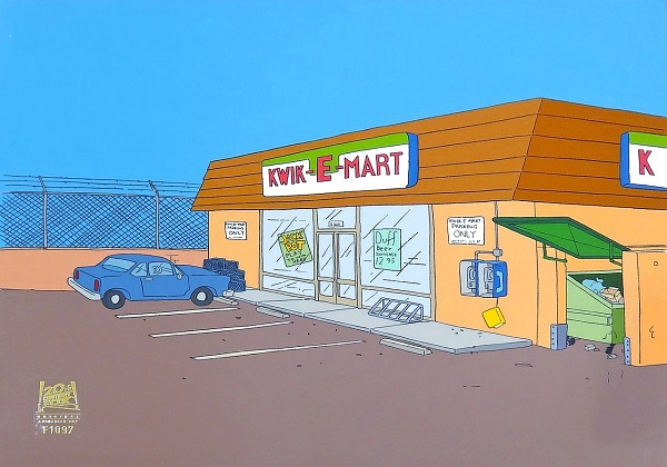 "The Simpsons ""Bart sells his soul, Kwik e Mart"" Original Background 27 x 32 cm"