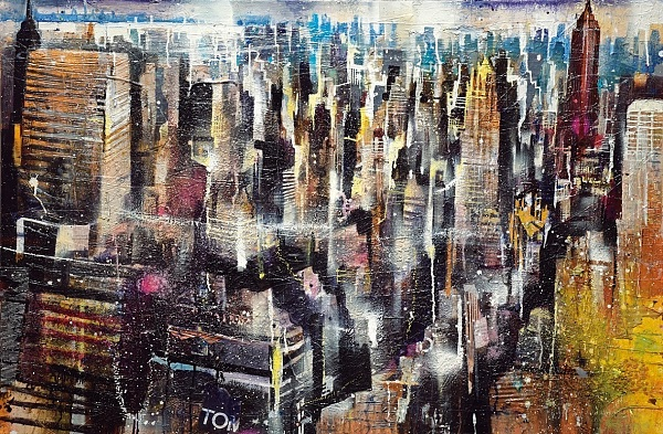 "Bernhard Vogel ""NY Midtown mit Empire State Building"" Mixed Media 80 x 120 cm"