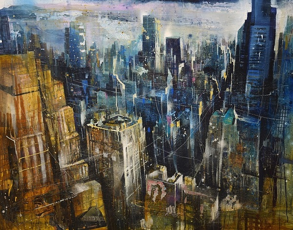 "Bernhard Vogel ""NY Upper east side (watch on sky)"" Mixed Media 120 x 150 cm"