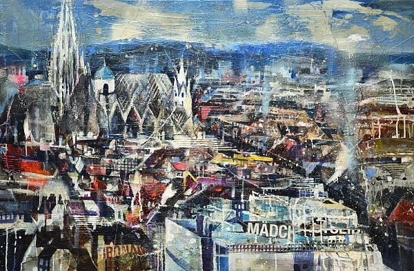 "Bernhard Vogel ""Dachlandschaft mit Stephansdom"" Mixed Media 80 x 120 cm"