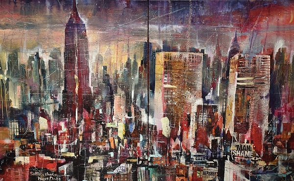 "Bernhard Vogel ""NY Midtown (The man with no shame)"" Diptychon Mixed Media 160 x 100 cm"