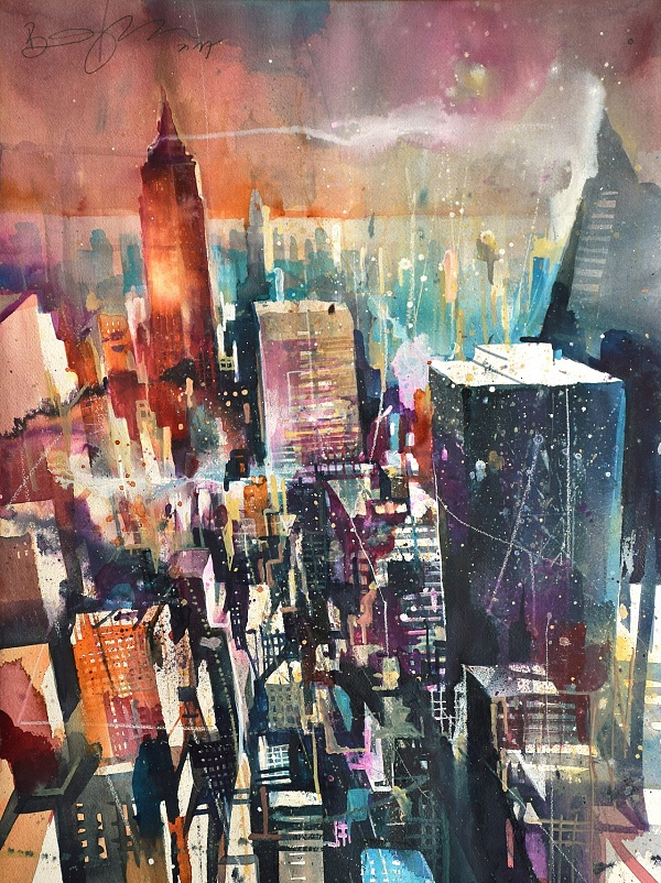 "Bernhard Vogel ""NY from the Rock"" Aquarell 46 x 61 cm"