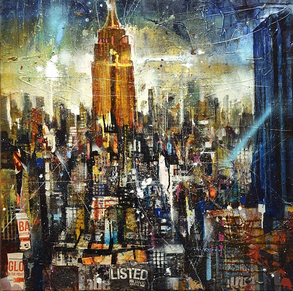 "Bernhard Vogel ""NY (Listed)"" Mixed Media auf Leinwand 80 x 80 cm"