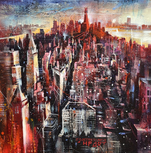 "Bernhard Vogel ""NY Looking Downtown (Give)"" Mixed Media auf LW 80 x 80 cm"