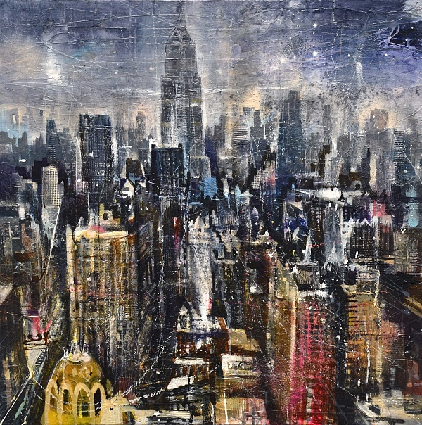 "Bernhard Vogel ""NY Midtown (Rooftops)"" Mixed Media auf Leinwand 80 x 80 cm"
