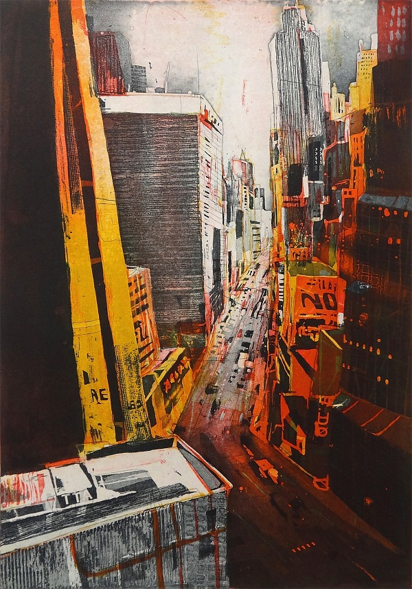 "Bernhard Vogel ""NY Midtown - yellow stripes"" Radierung 60 x 40 cm"