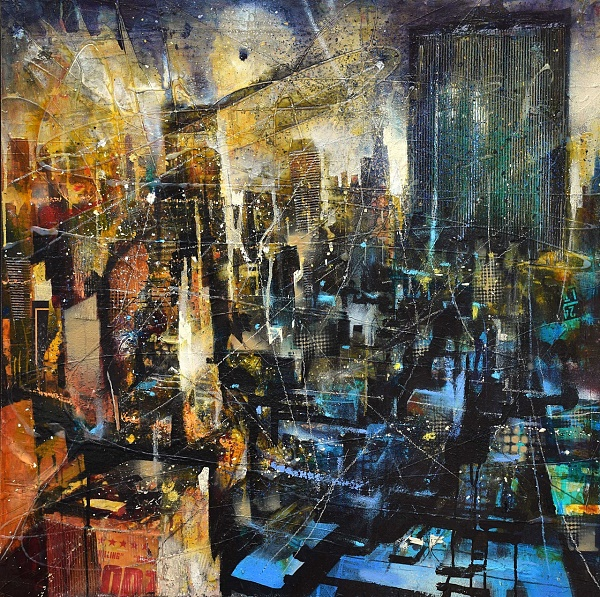 "Bernhard Vogel ""NY - The One Penn Plaza"" Mixed Media auf Leinwand 80 x 80 cm"