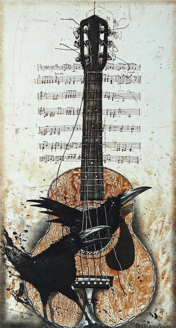 "Bodo Klös ""Black Crow Blues"" Radierung 79 x 51 cm"