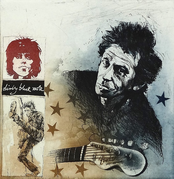 "Bodo Klös ""Portrait Keith Richards"" Radierung 50 x 40 cm"
