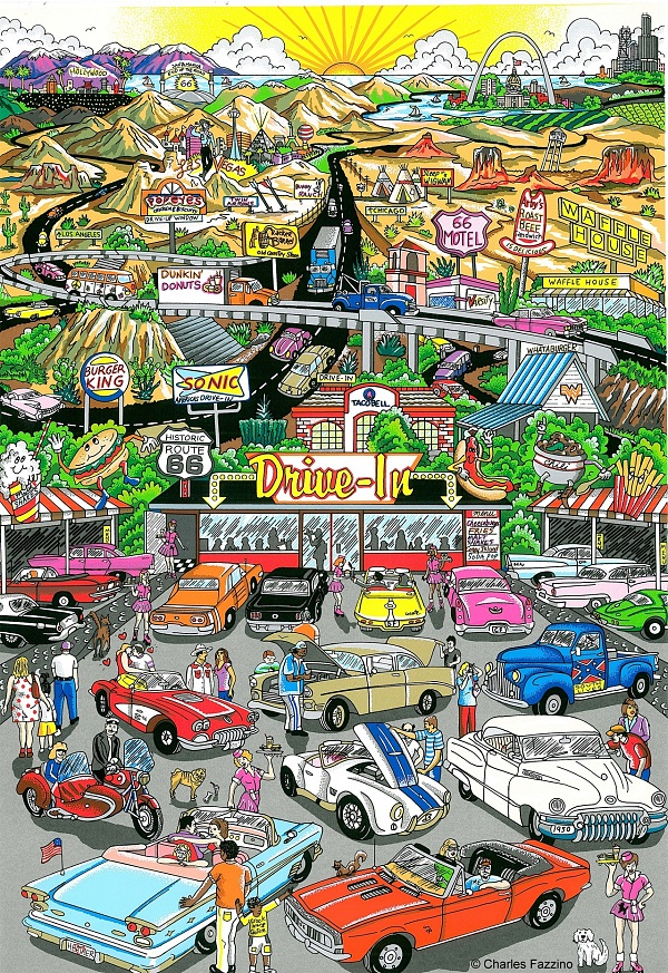 "Charles Fazzino ""Get your kicks on route 66"" 3D-Siebdruck 80 x 60 cm"