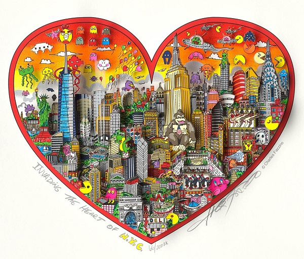 "Charles Fazzino ""Invading The Heart Of NYC"" 3D Siebdruck 50 x 60 cm"