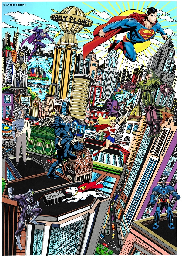 "Charles Fazzino ""Superman saves the day"" 3D-Siebdruck 80 x 60 cm"