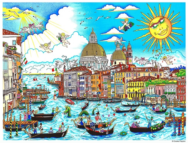 "Charles Fazzino ""The sun rises over Venice"" 3D Siebdruck 80 x 100 cm"