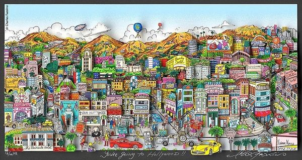 "Charles Fazzino ""You're going to Hollywood"" 3D-Siebdruck 65 x 100 cm"