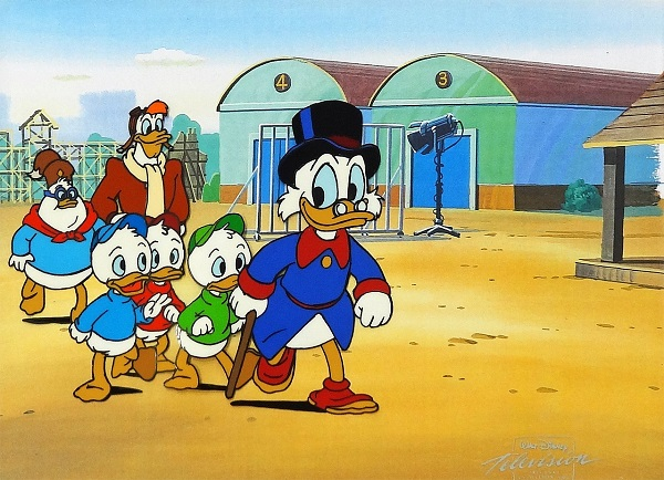 "Duck Tales ""Uncle Scrooge and Nephews"" Production Cel on Lithographic Background 25 x 29 cm © Disney"