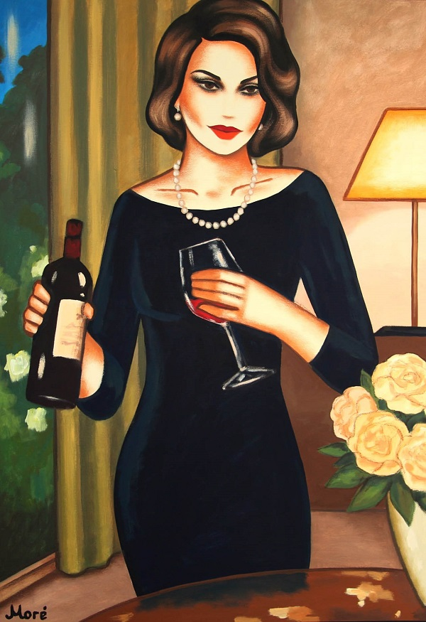 "Ekaterina Moré ""Red Wine Evening"" Acryl auf Leinwand 70 x 100 cm"