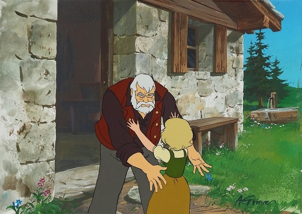 "Heidi - A Girl of the Alps ""Heidi and Grandpa"" Original Production Cel on Original Production Background 27 x 32 cm © Warner Bros."