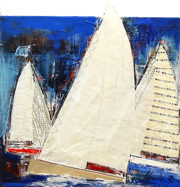 "Heinke Böhnert ""All night sailing"" Mischtechnik auf Leinwand 40 x 40 cm"