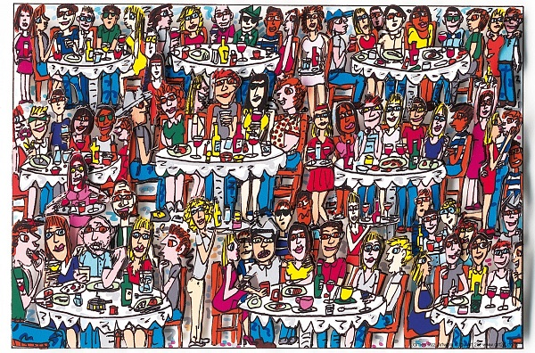 "James Rizzi ""Eating out with friends""2008, 3D-Siebdruck 15 x 20 cm"