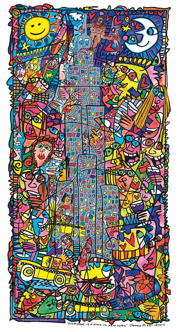 "James Rizzi ""Everyone Is A King In New York"" 2007 Acryl auf Leinwand"
