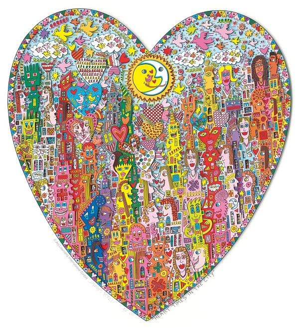 "James Rizzi ""Heart Times In The City"" 3D-Siebdruck 120 x 100 cm"