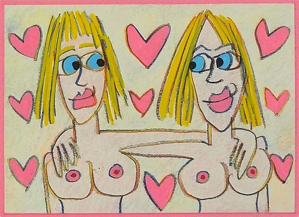 "James Rizzi ""If you like me I like you"" 2008, Buntstift auf Papier 14,5 x 21 cm"