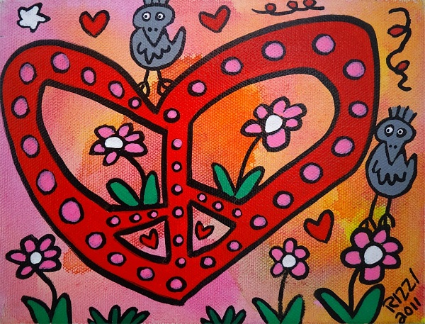 "James Rizzi ""Peace and Love and Love the Peace"" Acryl auf Leinwand 15 x 20 cm"