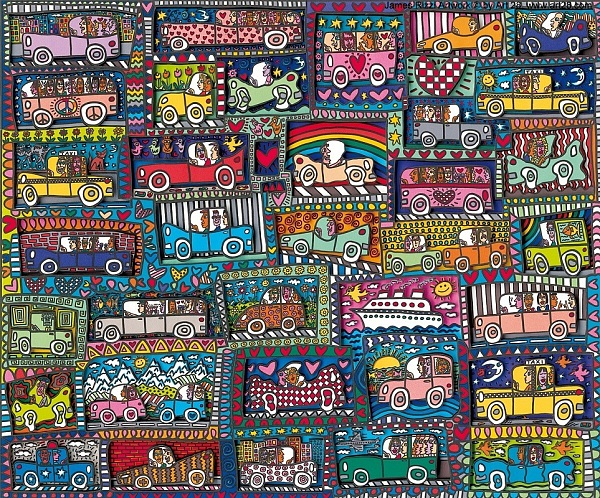 "James Rizzi ""Road Trip and a Cruise Ship"" 2008, 3D Siebdruck 63 x 74 cm"