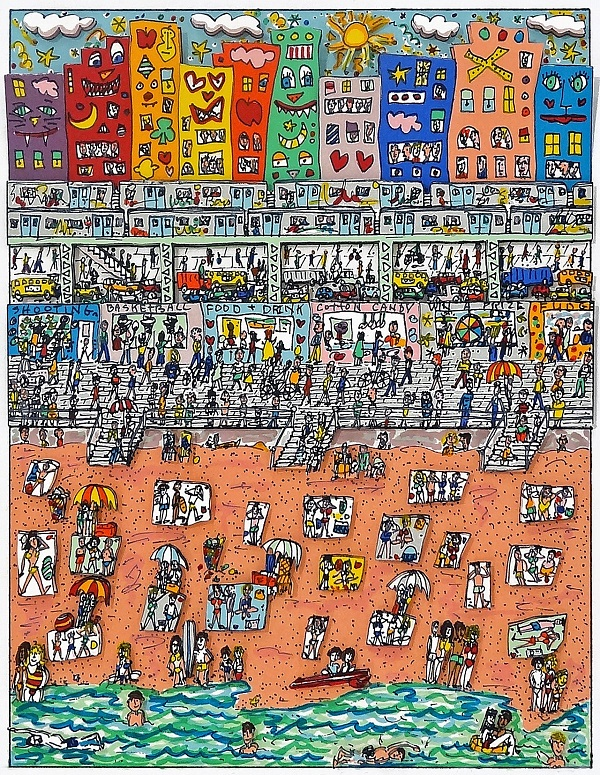 "James Rizzi ""Summer"" 1988, 3D-Siebdruck 25 x 21 cm"
