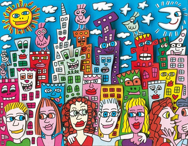 "James Rizzi ""Summer in the City"" 3D-Siebdruck (drucksigniert) 30 x 40 cm"