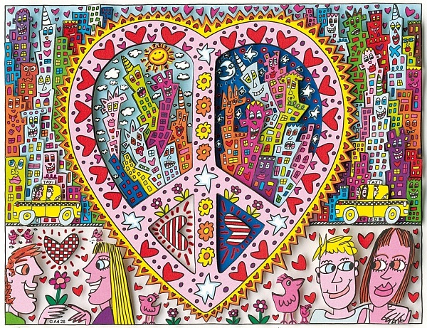 "James Rizzi ""The Best Peace Of My Heart"" 2014 3D Siebdruck 20,7 x 26,9 cm"