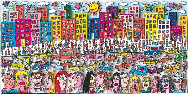 "James Rizzi ""The life and love in Brooklyn"" 3D Siebdruck 19 x 38 cm"
