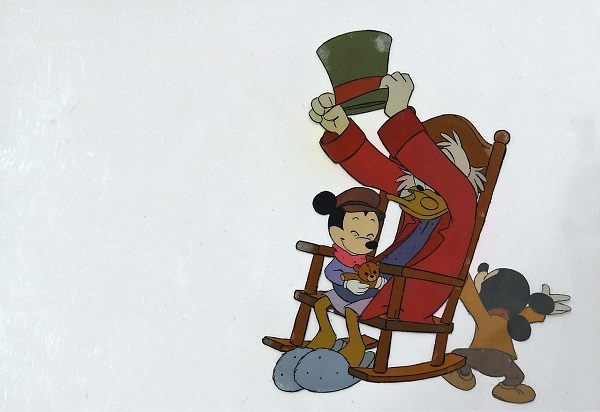 "Mickeys Christmas Carol 1983 ""Scrooge and the Kids"" Original & Unique hand painted Production Cel 30 x 40 cm © Disney"