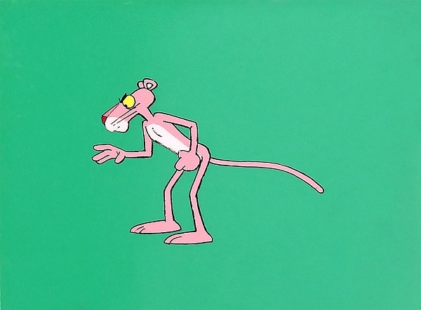 Pink Panther on green background Original Production Cel 21 x 26 cm