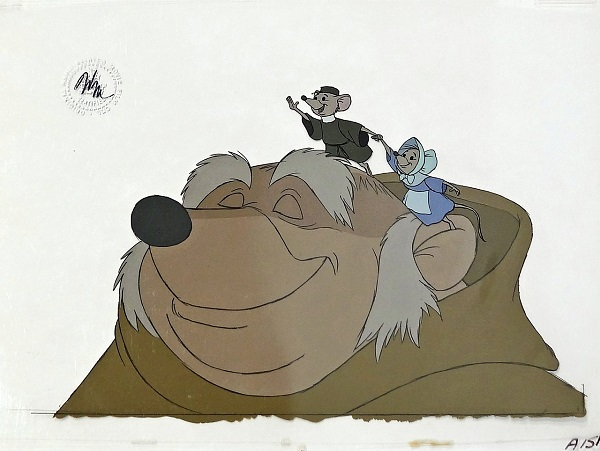 "Robin Hood ""Friar Tuck and the church mice"" Original & Unique hand painted Production Cels 32 x 40 cm © Disney"