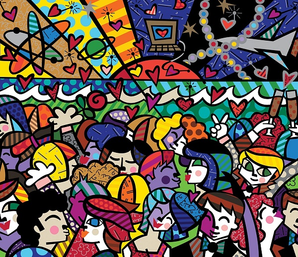 "Romero Britto ""Looking into the Future"" Siebdruck auf Gesso 84 x 100 cm"