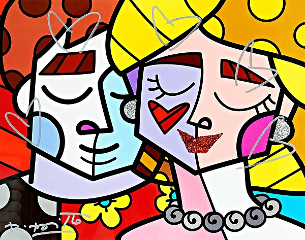 "Romero Britto ""Love"" Siebdruck 60 x 70 cm"