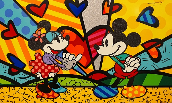 "Romero Britto ""Mickeys New Day"" Siebdruck auf Gesso 104 x 145 cm"