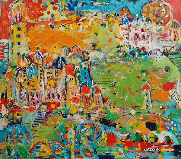 "Sabeth Holland ""The park"" 2007 (CT 107) Mischtechnik auf Leinwand 80 x 90 cm"