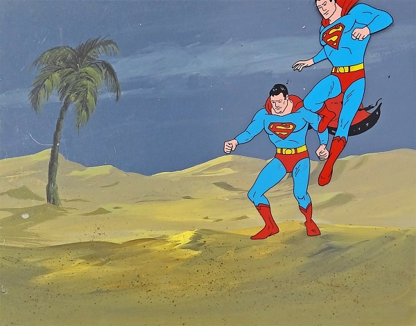 "Superman ""Landing"" Original Production Cel on Original Production Background 28 x 36 cm © Warner Bros."