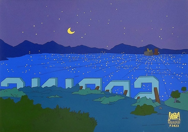 "The Simpsons ""Marge on the Lam, Springfield Night"" Original Production Cel 27 x 32 cm"