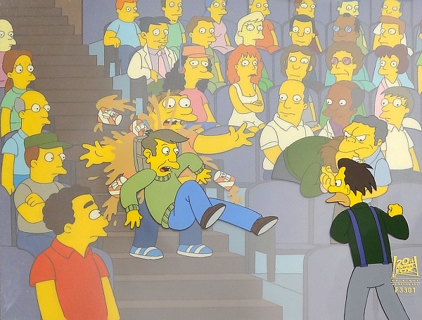 "The Simpsons ""The Catridge Family, Lenny fight Scene"" Original Production Cel 27 x 32 cm"