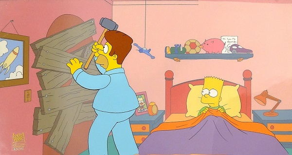 "The Simpsons ""Treehouse of Horror IX, Bart in Bed"" Original Prod. Cel 28 x 48 cm"