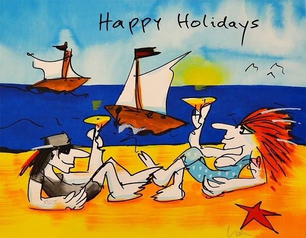 "Udo Lindenberg ""Happy Holidays"" Siebdruck, 42 x 56 cm"