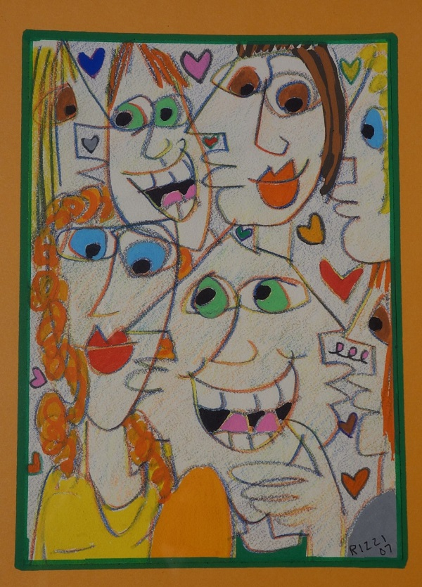 "James Rizzi ""Faces II"" Pastell 2007"