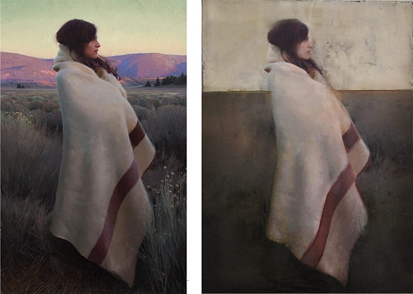 "Left, the original by Jeremy Lipking. On the right: Gabriella Benevolenza ""La couverture"""